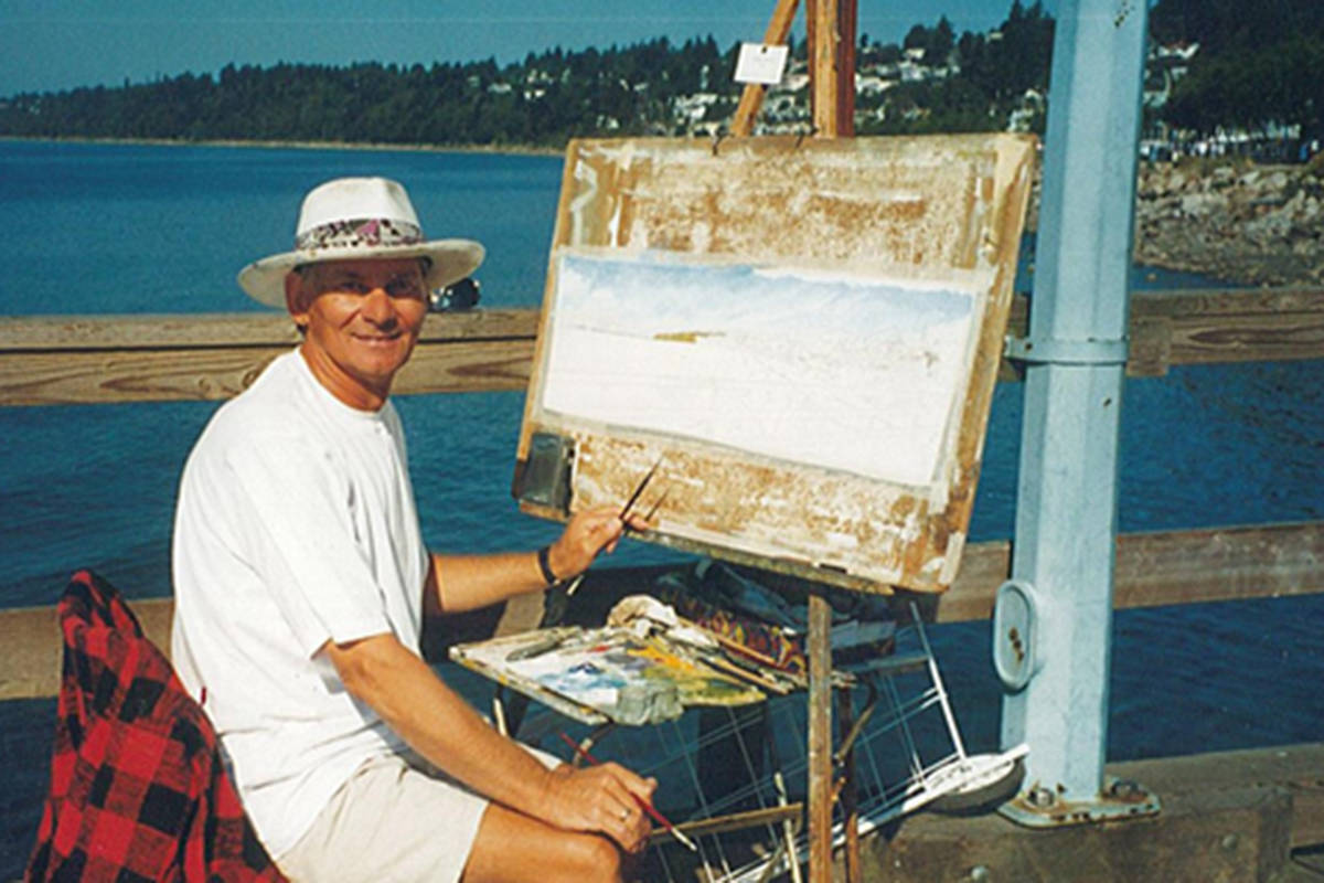 Vojislav Morosan visited Langley 20 years ago where he captured local landmarks on his canvas. His wife Norma Morosan is hoping to connect with a local business or group to arrange to donate the paintings so they can be put on display in Langley for the community to enjoy. (Norma Morosan/Special to Langley Advance Times)