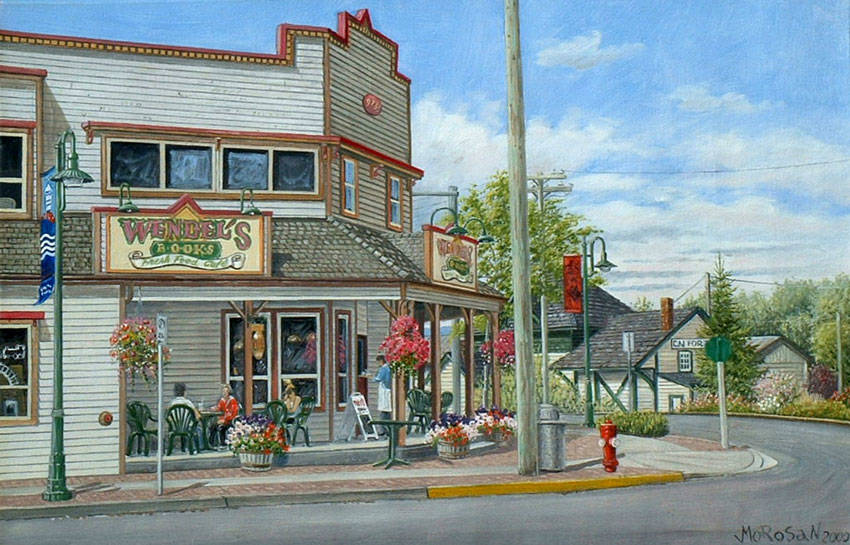 A Vojislav Morosan painting of Wendel's Bookstore in Fort Langley. Norma Morosan is hoping to connect with a local business to donate her husband's original painting so it can be put on display for all in the community to enjoy. (Vojislav Morosan/Special to Langley Advance Times)