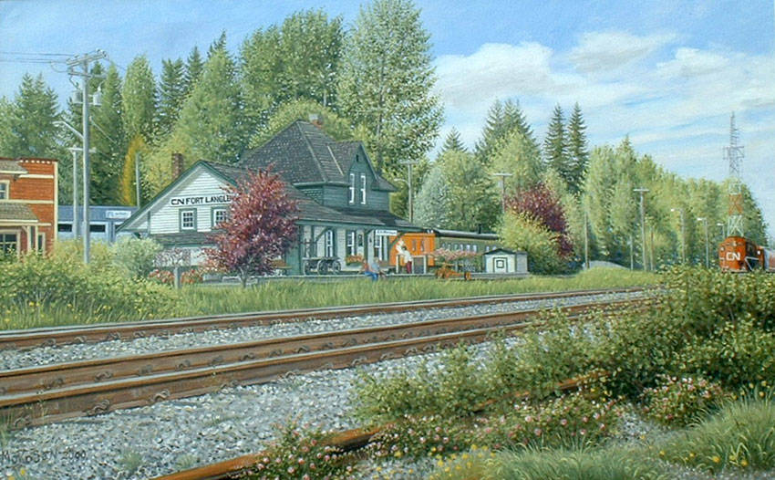 A Vojislav Morosan painting of the CN Station in Fort Langley. Norma Morosan is hoping to connect with a local business to donate her husband's original painting so it can be put on display for all in the community to enjoy. (Vojislav Morosan/Special to Langley Advance Times)