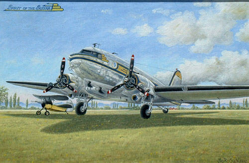 A Vojislav Morosan painting of the Spirit of the Skeena aircraft. Norma Morosan is hoping to connect with a local business or group to donate her husband's original painting so it can be put on display for all in the community to enjoy. (Vojislav Morosan/Special to Langley Advance Times)
