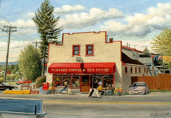 A Vojislav Morosan painting of Porter's Coffee in Murrayville. Norma Morosan is hoping to connect with a local business or group to donate her husband's original painting so it can be put on display for all in the community to enjoy. (Vojislav Morosan/Special to Langley Advance Times)