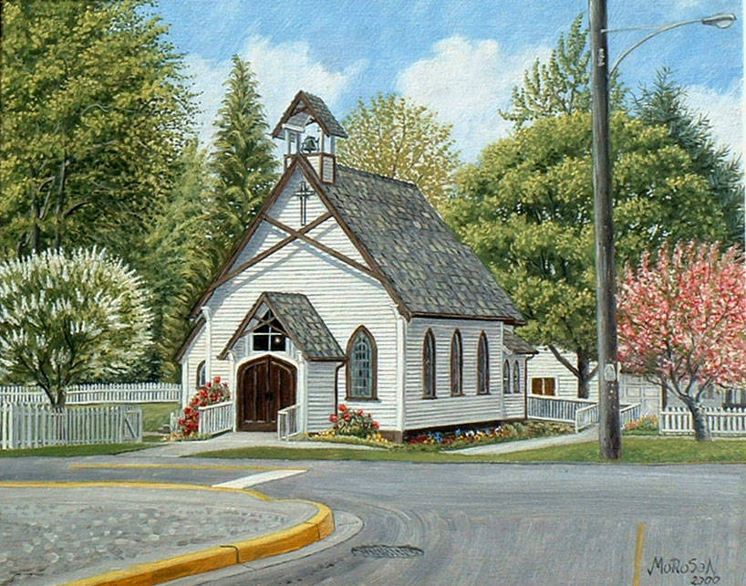 A Vojislav Morosan painting of St. George's Anglican Church. Norma Morosan has donated her husband's painting to the church in Fort Langley where it will be on display for the community to enjoy. (Vojislav Morosan/Special to Langley Advance Times)