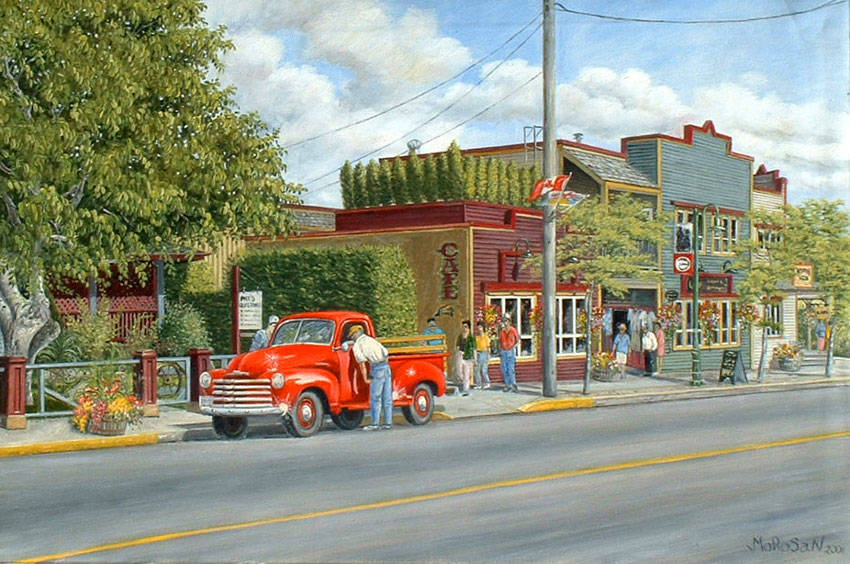 A Vojislav Morosan painting titled 'Main Street,' where a classic truck is seen parked on a Fort Langley street. This painting was immediately purchased by the owner of the truck after they saw their classic ride depicted in the artwork. (Vojislav Morosan/Special to Langley Advance Times)