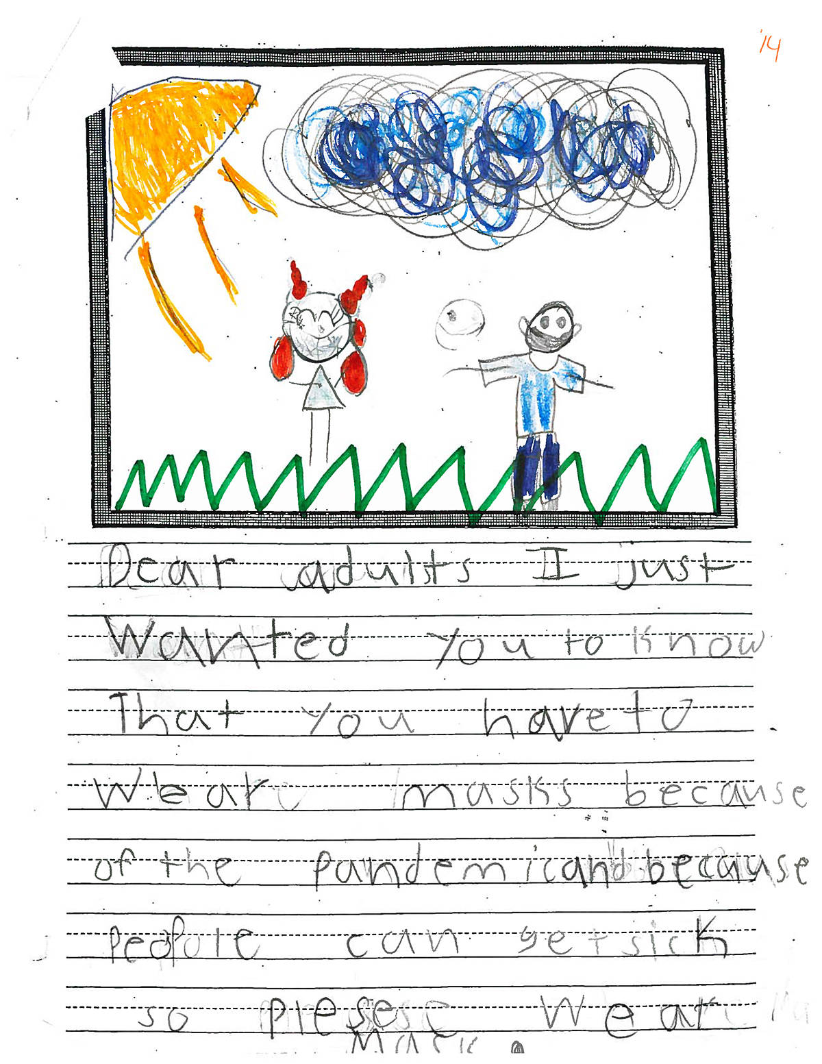 Teacher Tracy Dionne's Grade 2 students at Willoughby Elementary wrote letters to adults about COVID-19. (Special to the Langley Advance Times)