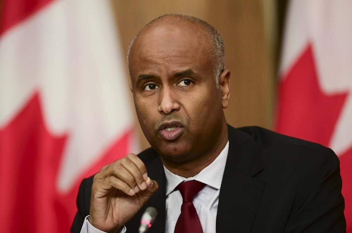 Minister of Families, Children and Social Development Ahmed Hussen takes part in an update on the COVID pandemic during a press conference in Ottawa on October 27, 2020. The City of Vancouver says it has purchased a former hotel at a major thoroughfare that can house about 65 units to accommodate homeless people. A joint news release by the Minister of Families, Children and Social Development, the Canada Mortgage and Housing Corporation and city says 2075 Kingsway, Days Inn by Wyndham Vancouver, will be ready for accommodation this November. The Minister of Families, Children and Social Development Ahmed Hussen also announced a $51.5 million Rapid Housing Initiative for Vancouver that is expected to create 135 new affordable homes. THE CANADIAN PRESS/Sean Kilpatrick