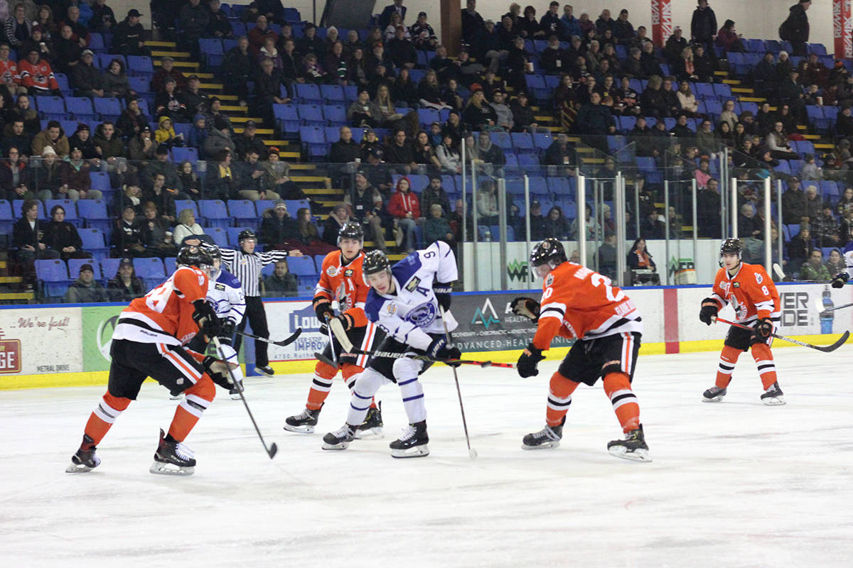The Nanaimo Clippers in action at Frank Crane Arena in early 2020. (News Bulletin file photo)