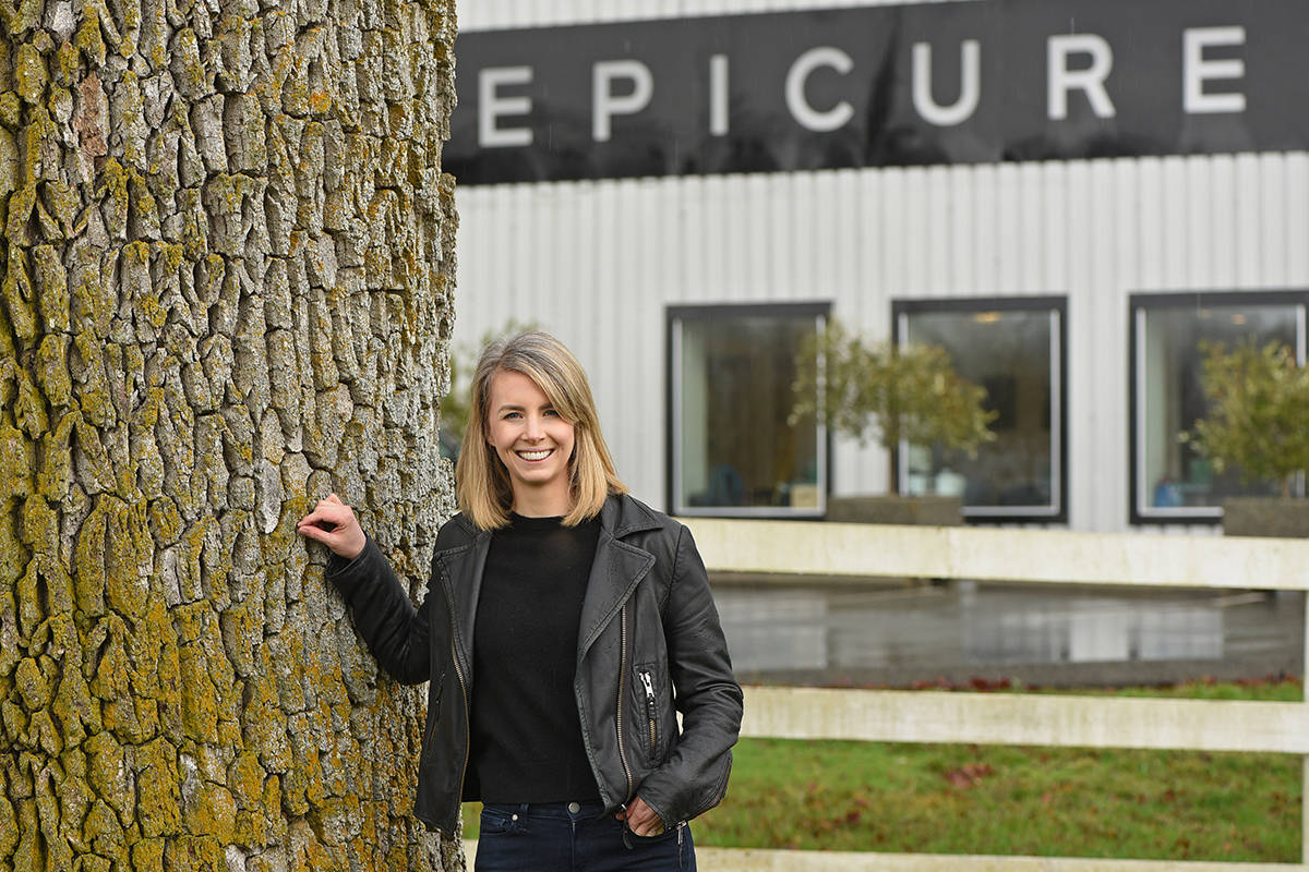 Amelia Warren, Epicure CEO, stands outside the company's warehouse and offices in North Saanich.  Don Denton photo