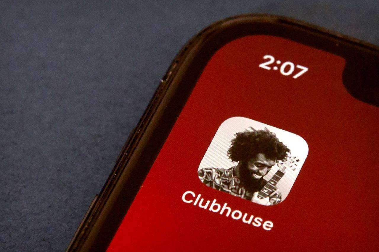 The icon for the social media app Clubhouse is seen on a smartphone screen in Beijing, Tuesday, Feb. 9, 2021. THE CANADIAN PRESS/AP/Mark Schiefelbein