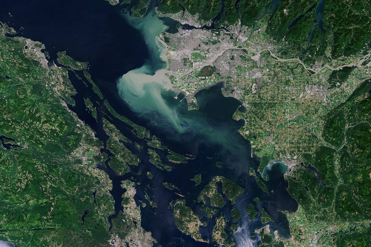 The south coast of B.C. as capture by the Copernicus Sentinel-2 mission. (European Space Agency)