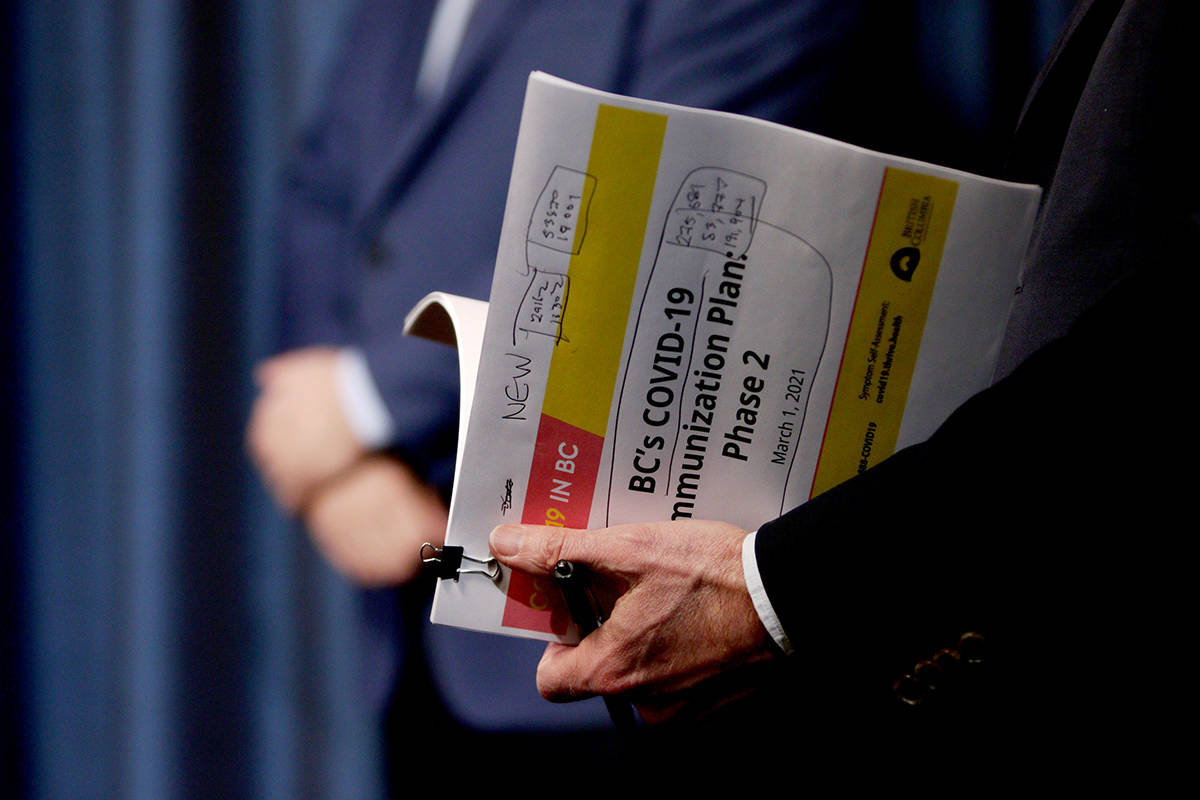 Minister Adrian Dix looks through a copy copy of phase two in B.C.'s COVID-19 immunization plan as Premier John Horgan looks on during a press conference at Legislature in Victoria, B.C., on Monday, March 1, 2021. THE CANADIAN PRESS/Chad Hipolito
