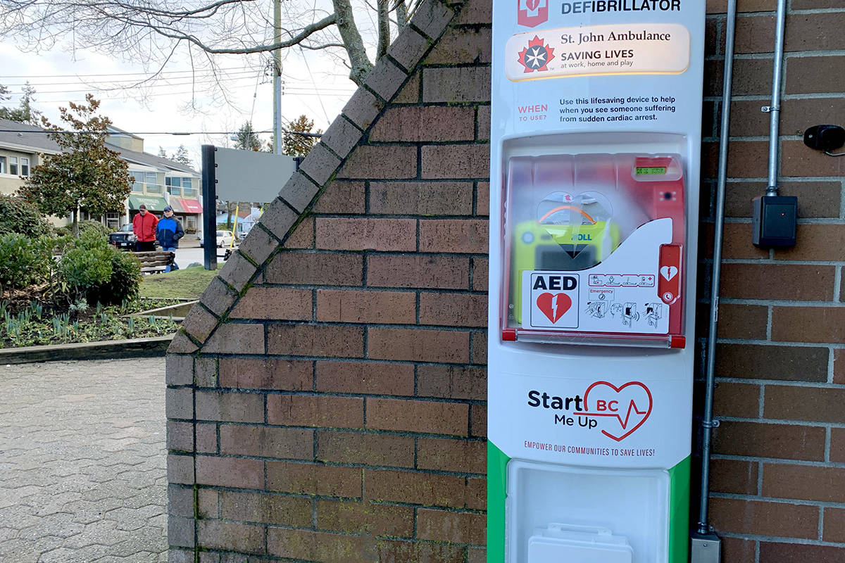 A publicly accessible defibrillator as well as naloxone and first aid kits are included in a stand that has been installed at Crescent Beach. It is one of two planned for the South Surrey neighbourhood as St. John Ambulance works to install 1,000 of the life-saving devices around the province. (Contributed photo)