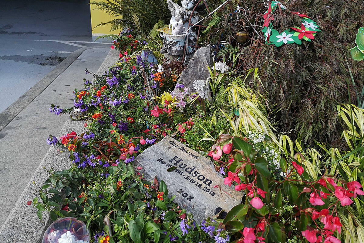 A memorial to Hudson Brooks outside the South Surrey RCMP detachment. (File photo)