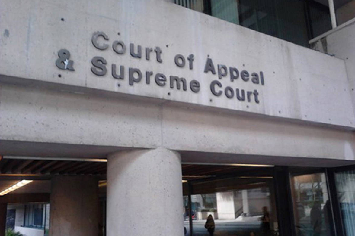 B.C.'s court of appeal in Vancouver. (File photo: Tom Zytaruk)
