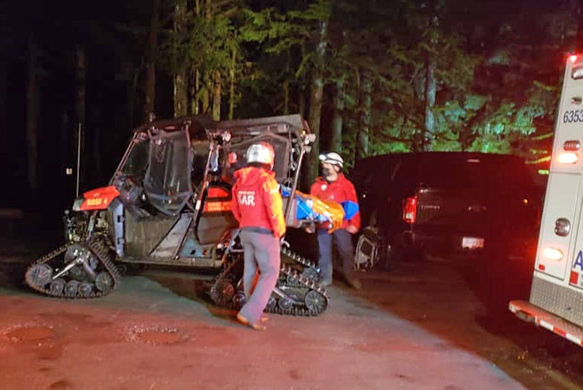 After a routine rescue of an injured hiker, Ridge Meadows Search and Rescue noted there have been four injury rescues on well-groomed trails in recent months. (Special to The News)