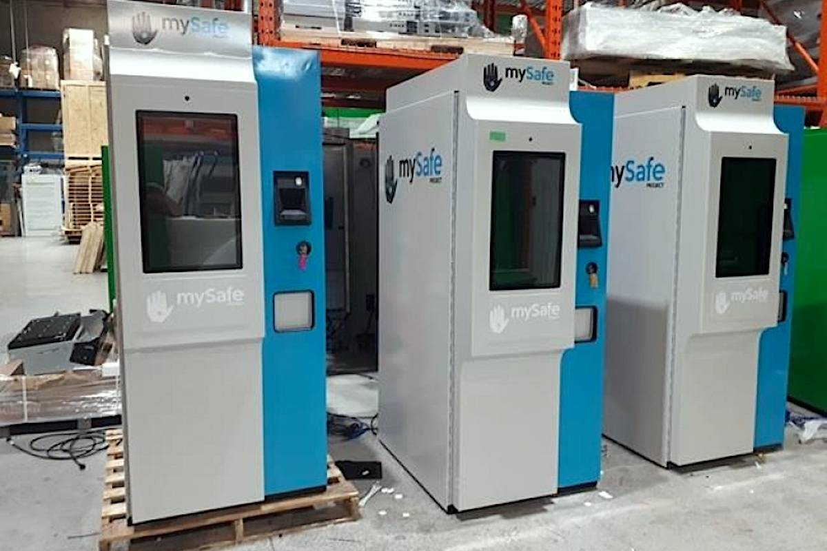 The machines, called MySafe, are akin to ATMs and allow drug users at risk of overdose to get hydromorphone pills dispensed to them after their palm has been scanned to identify its unique vein pattern. THE CANADIAN PRESS/HO