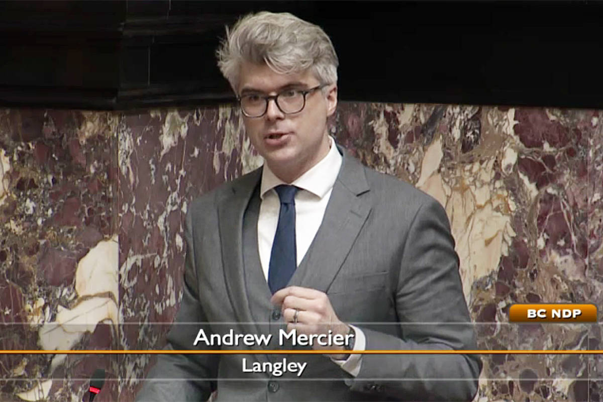 Langley MLA Andrew Mercier rose in the provincial legislature on Monday, March 1, to praise a planned new rainbow crosswalk in Langley and to provide some historical context (Provincial legislature video image)
