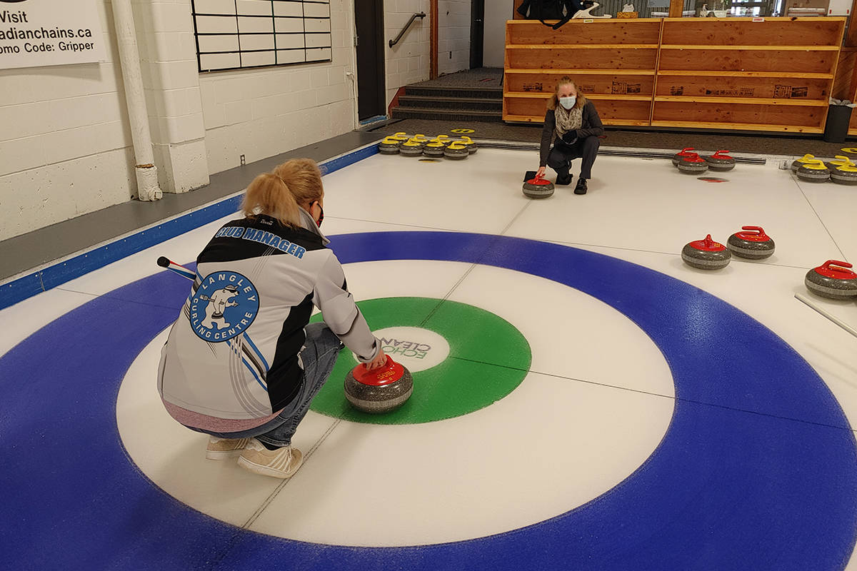 A one-on-one coaching session at the Langley Curling Club (Special to Langley Advance Times)