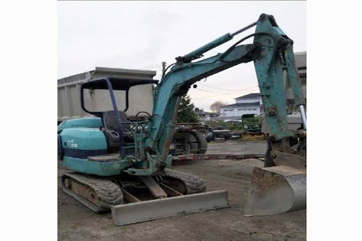An excavator that was stolen from Crush Crescent. (Langley RCMP/Special to the Langley Advance Times)