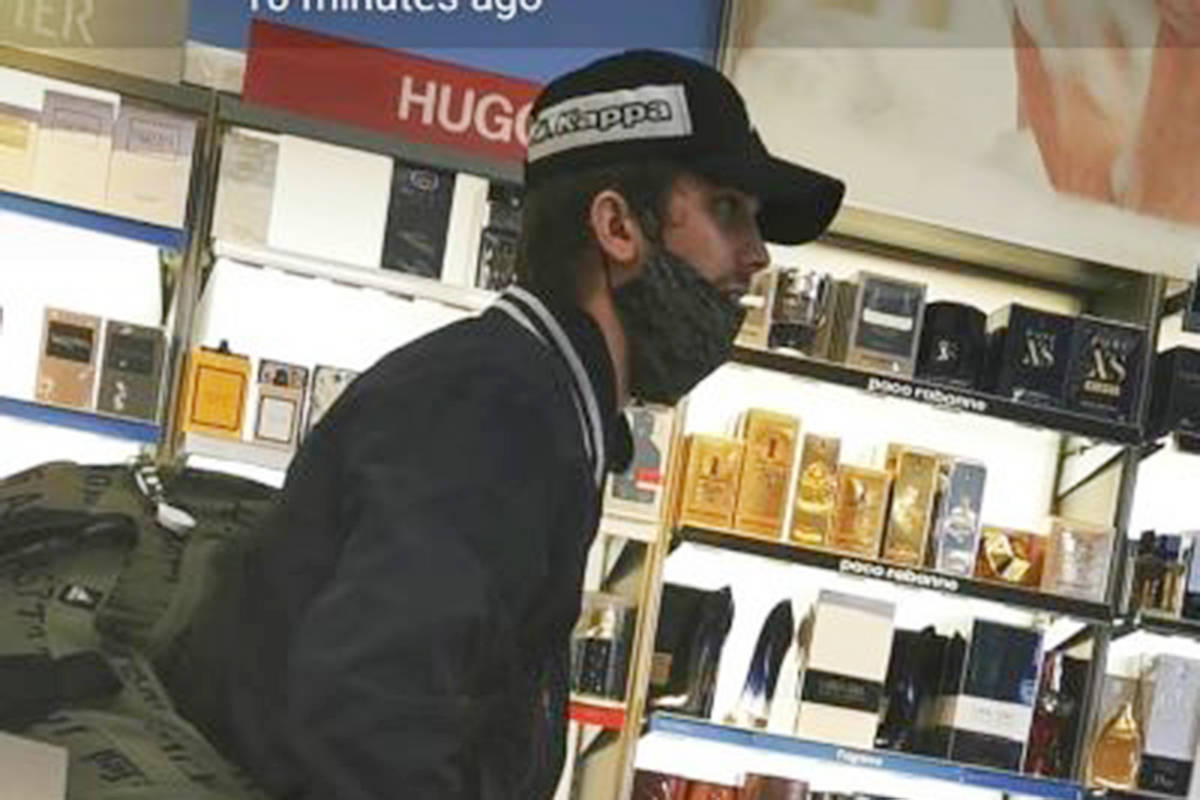A man suspected of stealing perfume. (Langley RCMP/Special to the Langley Advance Times)