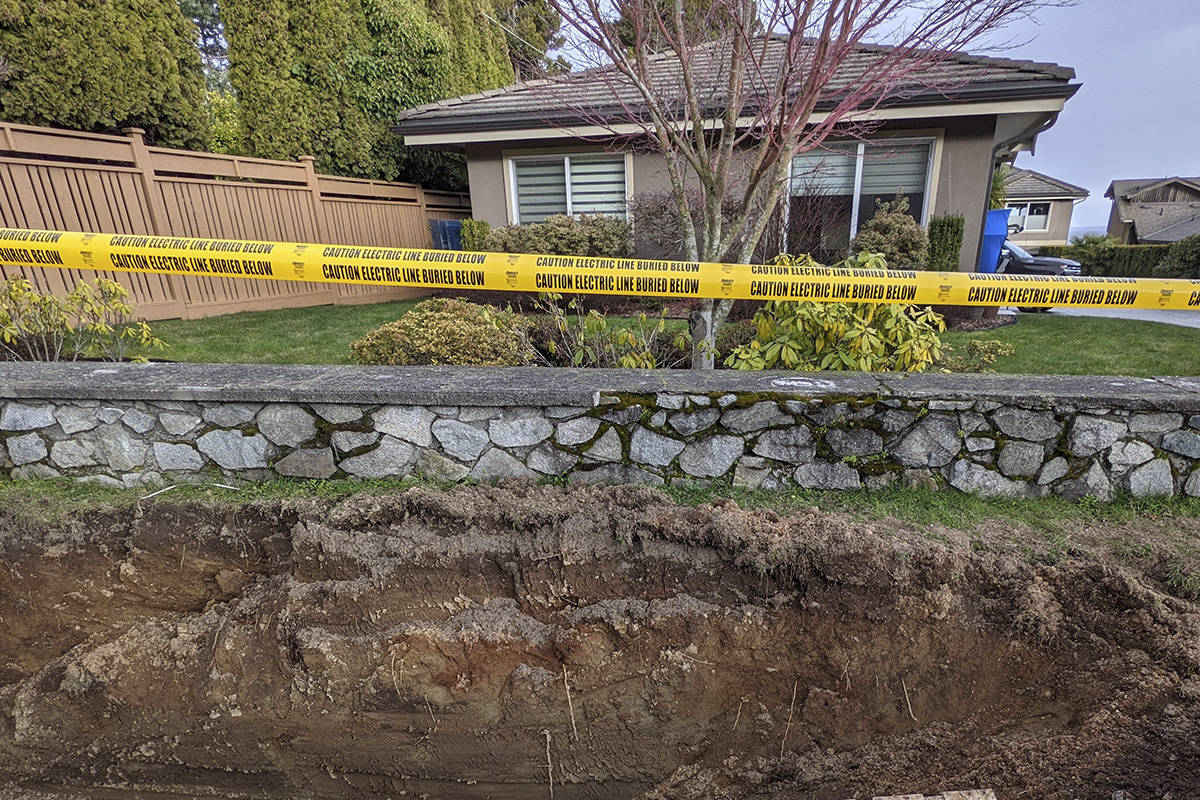 The area on Cordova Bay Road where ancestral human remains were discovered Feb. 22. (Submitted photo)