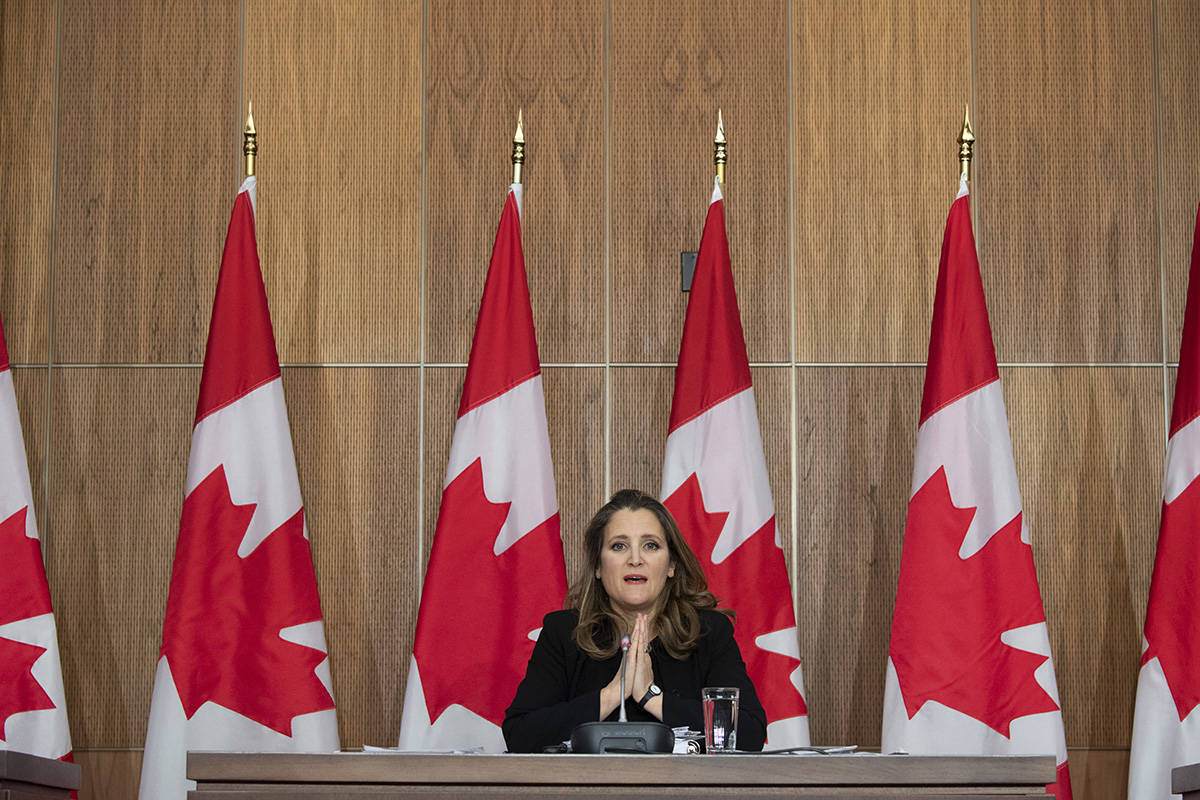 Deputy Prime Minister and Minister of Finance Chrystia Freeland speaks about the Fiscal update during a news conference in Ottawa, Monday November 30, 2020. THE CANADIAN PRESS/Adrian Wyld