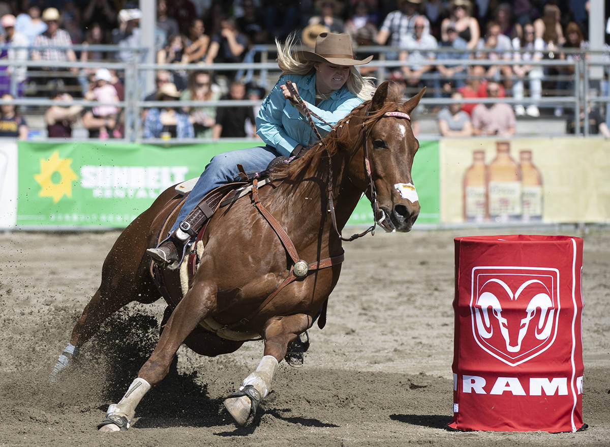 A barrel racer is seen at the Cloverdale Rodeo. (Photo courtesy Cloverdale Rodeo)
