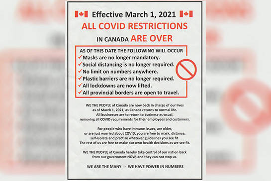 This poster, spreading misinformation regarding COVID-19 restrictions, has been popping up in communities across Vancouver Island.