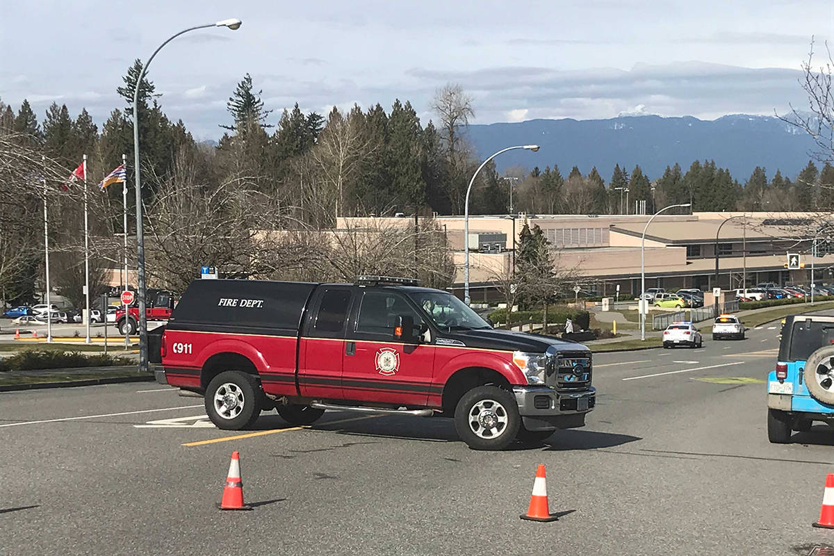 "Emergency crews are on scene at Walnut Grove Secondary School for what Langley RCMP are calling a ""serious incident"" on March, 3, 2021. The school has been evacuated. (Matthew Claxton/Langley Advance Times)"