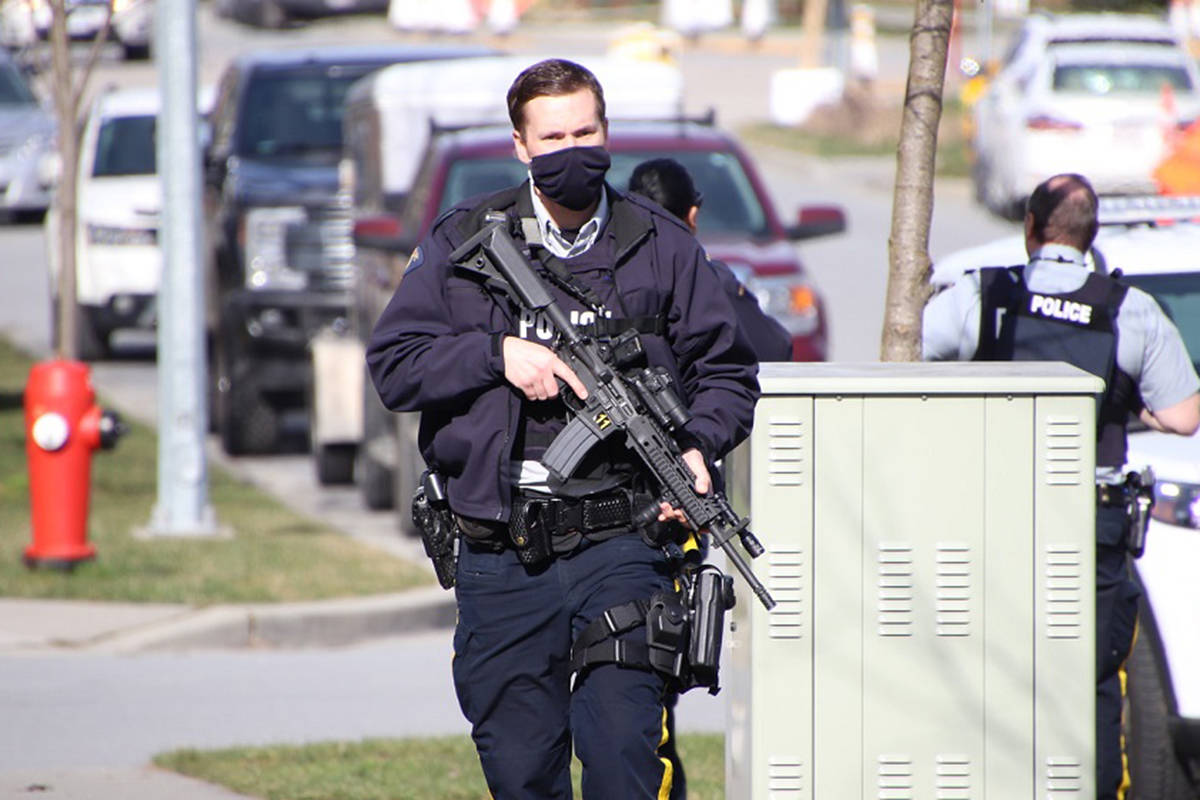 Emergency crews are on scene at Walnut Grove Secondary School after a report of a bomb threat at Walnut Grove Secondary School on March 3, 2021. The school was safely evacuated. (Shane MacKichan/Special to Langley Advance Times)