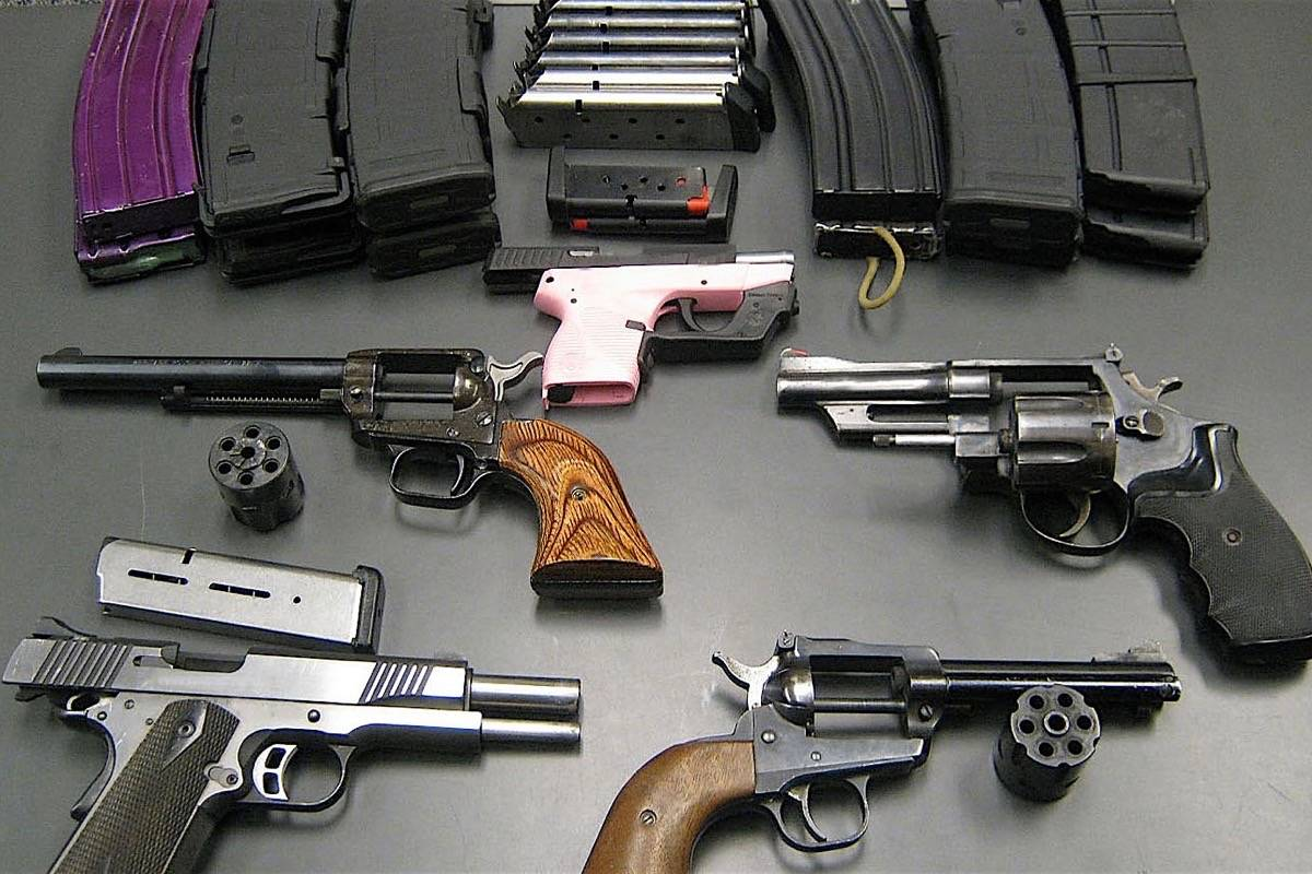 A sample of guns seized at the Pacific Highway border crossing from the U.S. into B.C. in 2014. Guns smuggled from the U.S. are used in criminal activity, often associated with drug gangs. (Canada Border Service Agency)