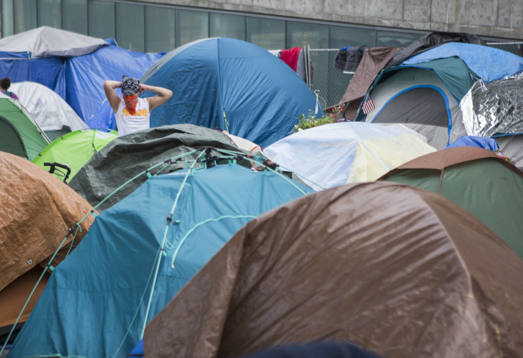 """BC Housing minister David Eby is concerned that Penticton council's decision to close a local homeless shelter will result in a """"tent city"""" similar to this one in Everett, Wa. (Olivia Vanni / Black Press file)"""