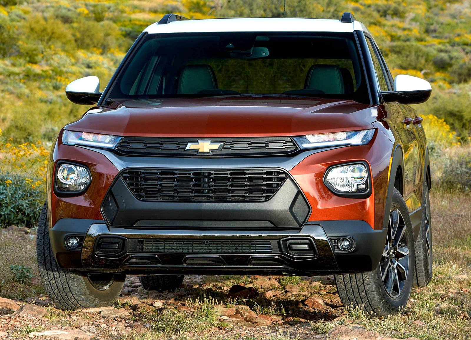From the front, the Trailblazer displays an oversize grille and rounded hood that's similar in shape to other vehicles in Chevy's stable, most notably the bigger Blazer.