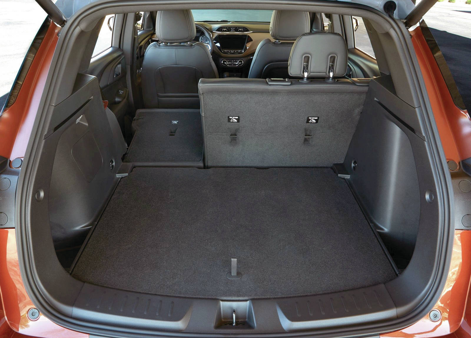 Although the Trailblazer is larger than the Trax, it does have more cargo room due to a taller ceiling. Note that the folding rear seat is not standard for base Trailblazer model. PHOTO: CHEVROLET