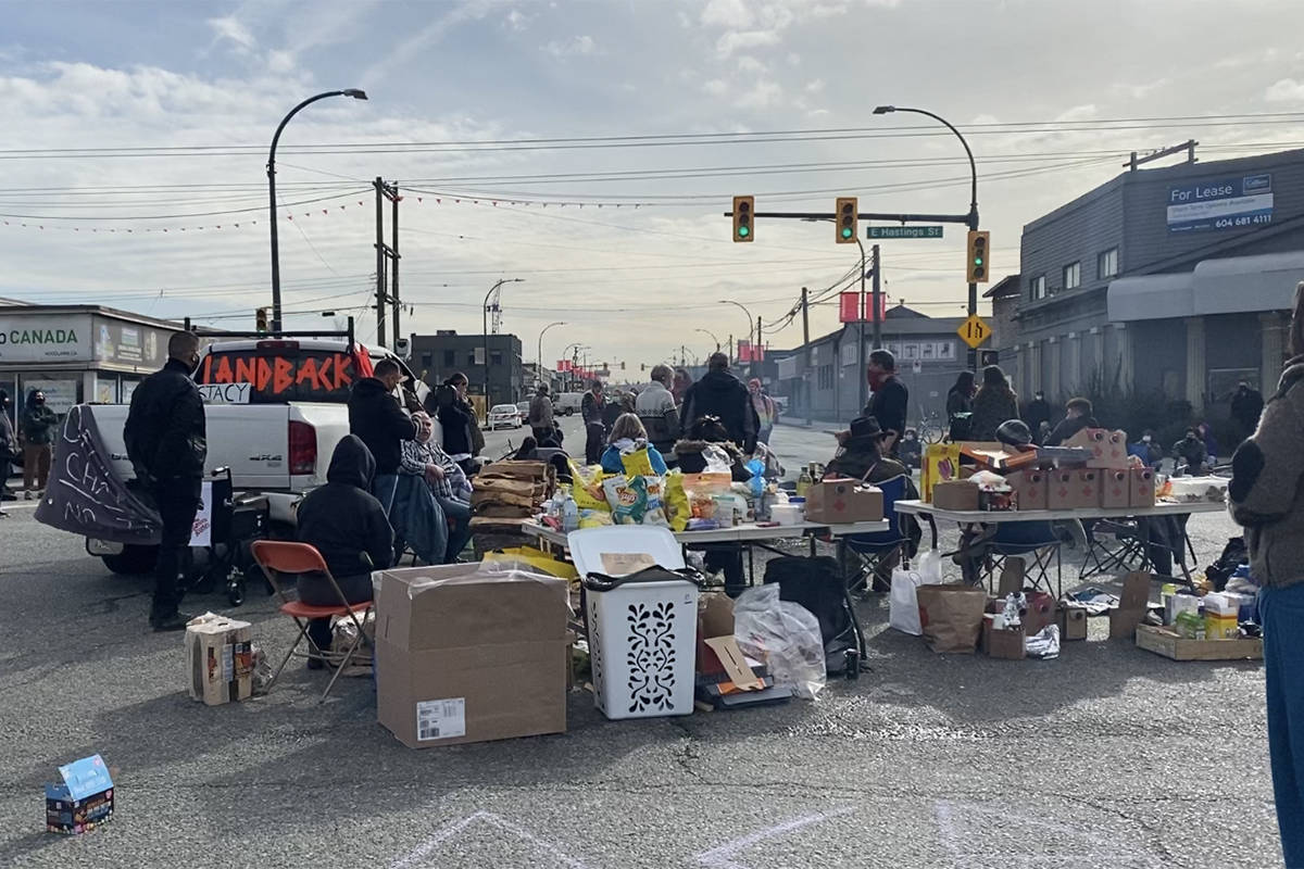 Mid day at the Vancouver Port Intersection blockade on March 3, organized by the Braided Warriors. (Zoë Ducklow photo)