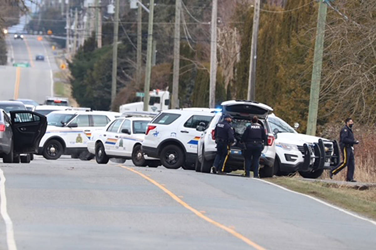 Police vehicles and officers near the scene of an attempted raid on a legal cannabis farm in South Langley Thursday morning. (Shane MacKichan/Special to the Langley Advance Times)