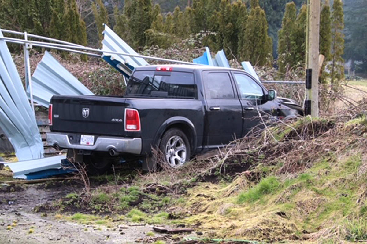 A crashed pickup truck near the gate of the legal cannabis farm. (Shane MacKichan/Special to the Langley Advance Times)