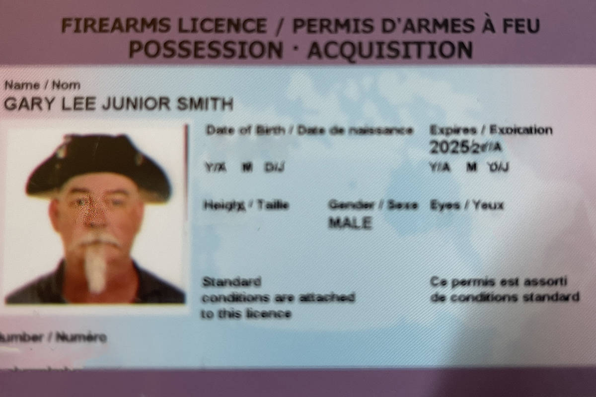 Pictured is Gary Smith's firearms license, in which he is identified wearing his tricorn hat. Photo courtesy of Gary Smith