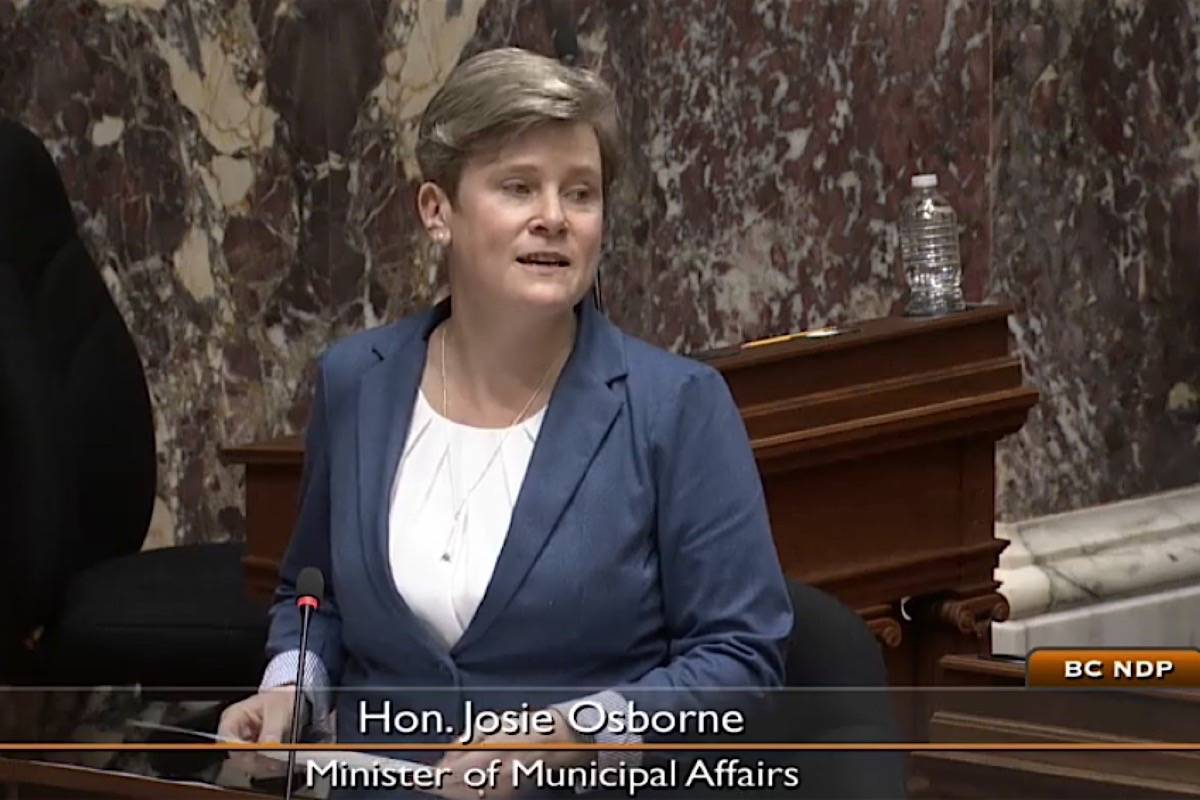 Municipal Affairs Minister Josie Osborne speaks in the B.C. legislature, March 4, 2021. (Hansard TV)