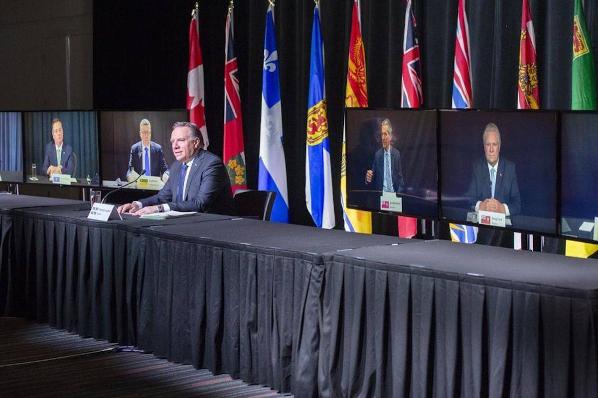 Quebec Premier François Legault chairs a virtual news conference Thursday, March 4, 2021 in Montreal. THE CANADIAN PRESS/Ryan Remiorz
