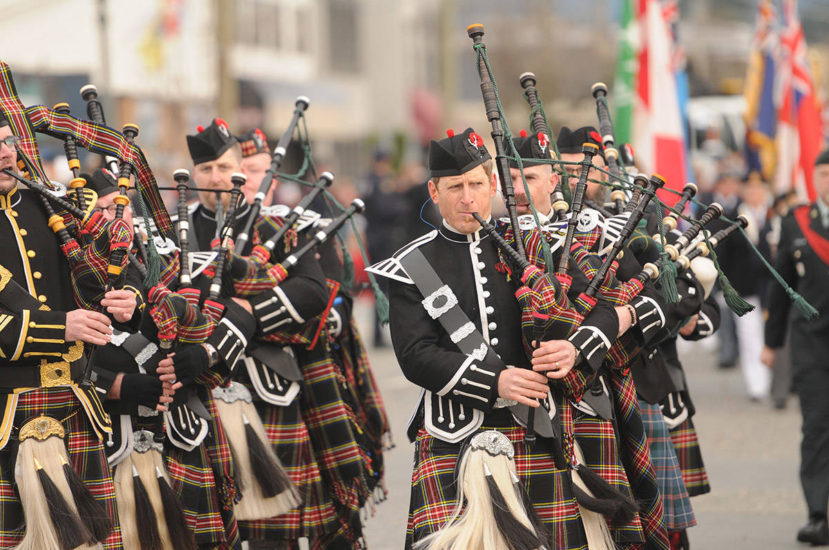 The James C Richardson Pipe Band marches in a Remembrance Day parade on Nov. 11, 2019 in Chilliwack. Wednesday, March 10 is International Bagpipe Day. (Jenna Hauck/ Chilliwack Progress file)