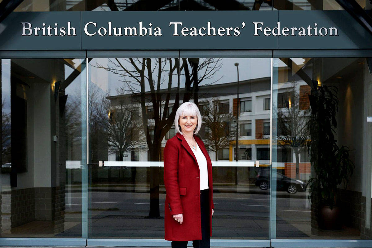 President of the BC Teacher's Federation (BCTF) Teri Mooring is calling for teachers to be vaccinated for COVID-19 by summer. THE CANADIAN PRESS/Chad Hipolito