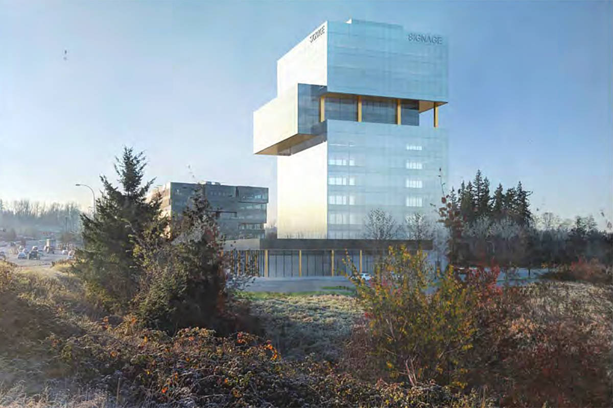 "This artist's rendering shows the ""offset"" portion in the upper third of the 12-storey building that would be located near the 200th Street highway interchange. (Langley Township/Special to the Langley Advance Times)"