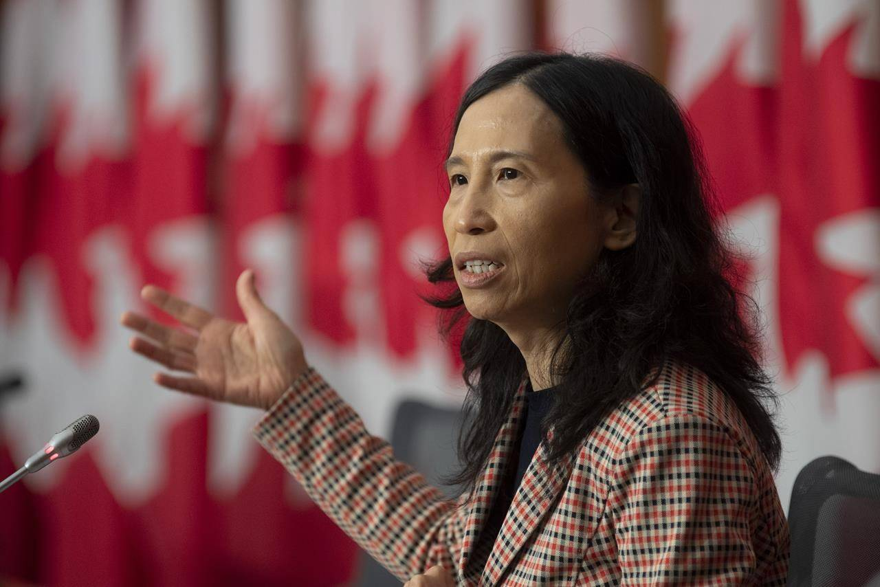 Canada's Chief Public Health Officer doctor Theresa Tam responds to a question during a news conference in Ottawa. THE CANADIAN PRESS/Adrian Wyld