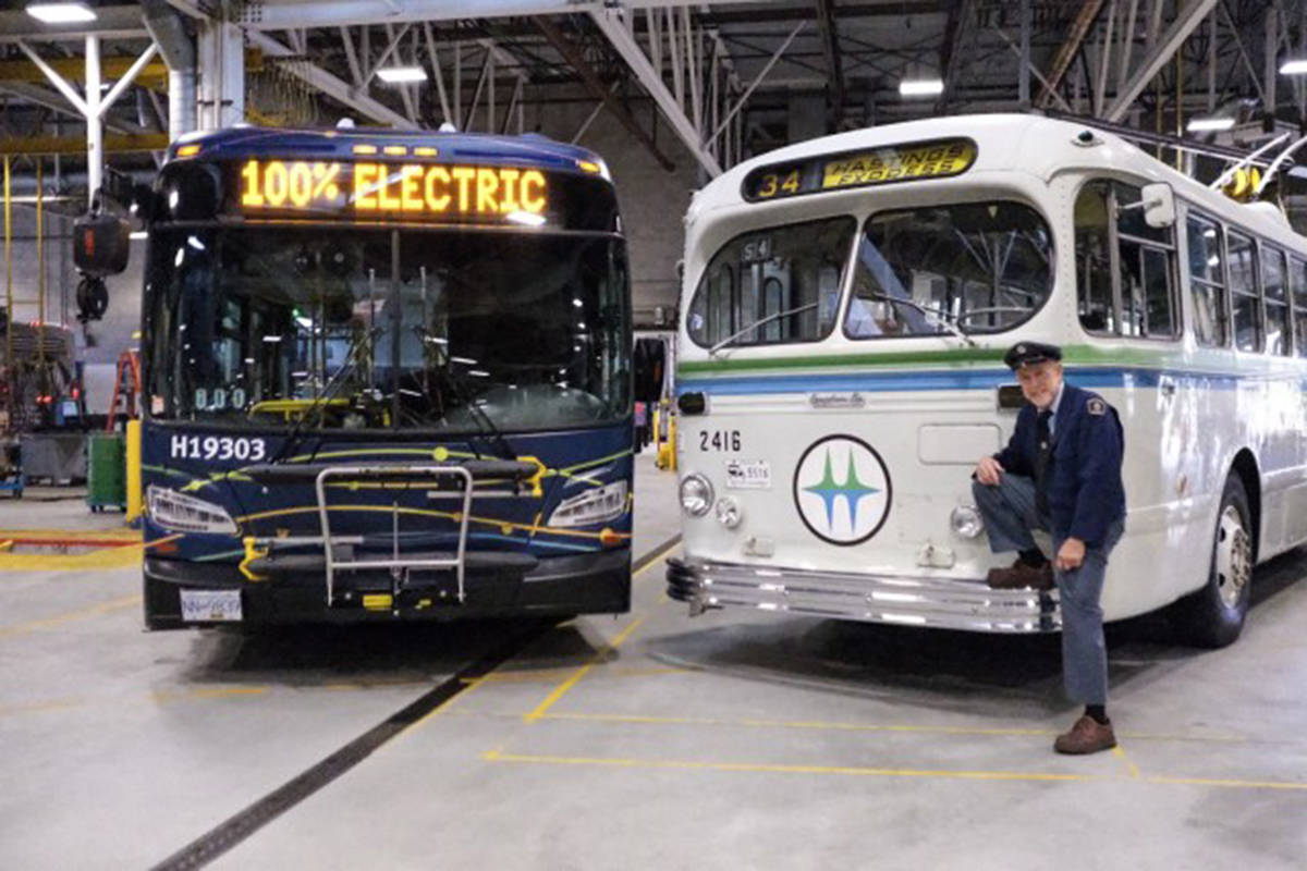TransLink's Mayors Council wants to expand from their pilot electric buses (left) to a fleet of more than 600 in 10 years. On the right is an old-school electric trolley bus. (TransLink)