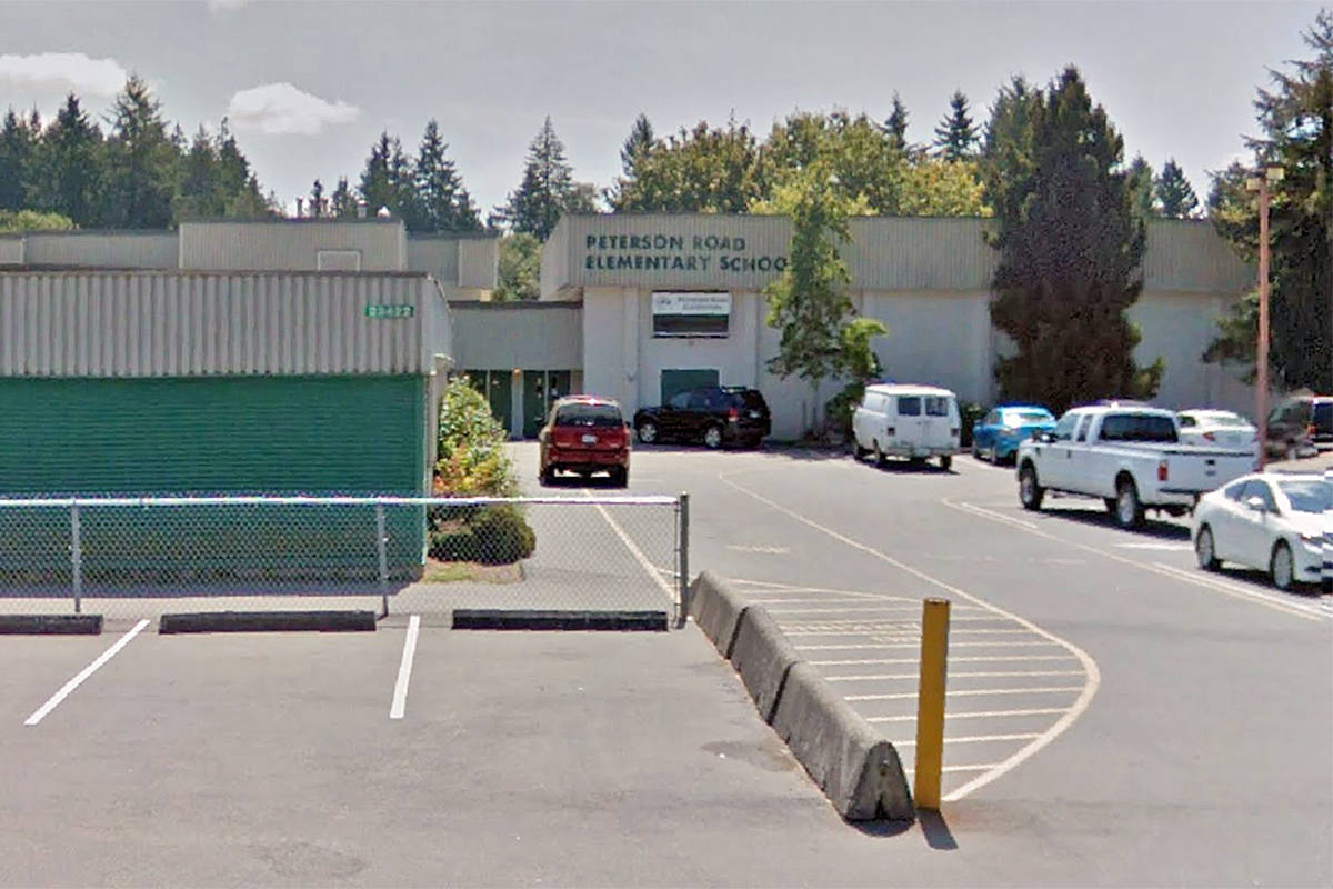 Undated Google Street View image of Peterson Road Elementary School in Langley. A member of the school community has tested positive for COVID-19. (Google)