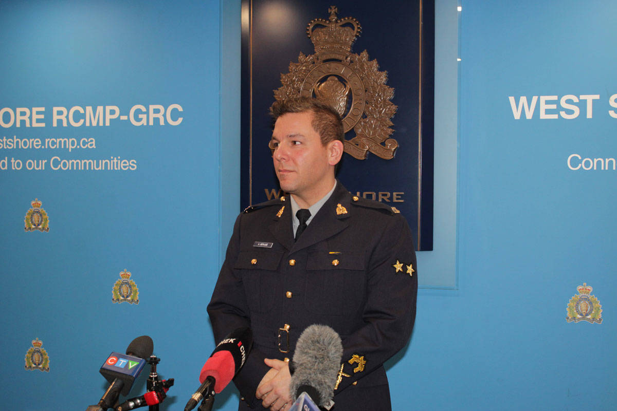 During a press event on March 6, Const. Alex Berube, media relations officer for the West Shore RCMP, addressed a deadly shooting that occurred in Metchosin the night before. (Devon Bidal/News Staff)