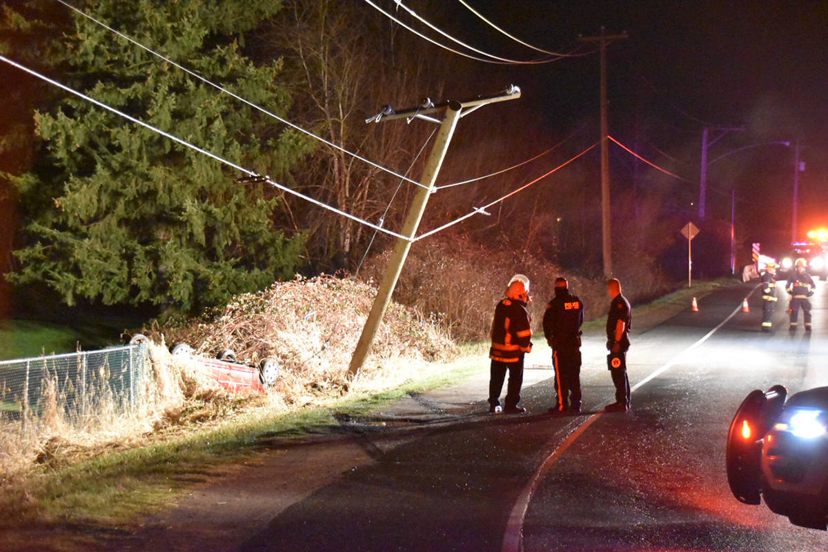 A crash in the 8600 block of Glover Road on Saturday night March 6, 2021 cut power to 1,000 BC Hydro customers in the for more than seven hours (Curtis Kreklau/South Fraser News Services)