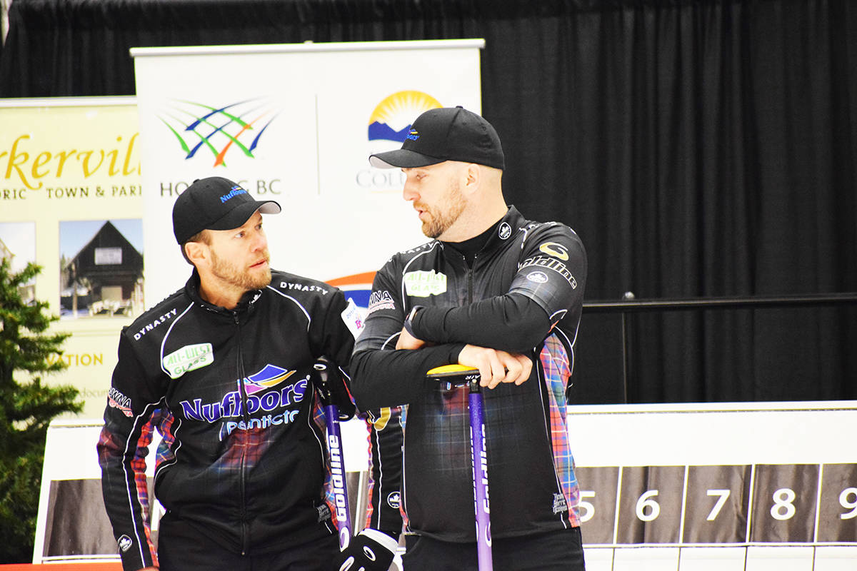 Vernon's Jim Cotter (left) and Steve Laycock of Saskatoon will try to rebound Sunday, March 7, at the Tim Hortons Brier Canadian men's curling championship in Calgary after an opening-game defeat. (Black Press file photo)
