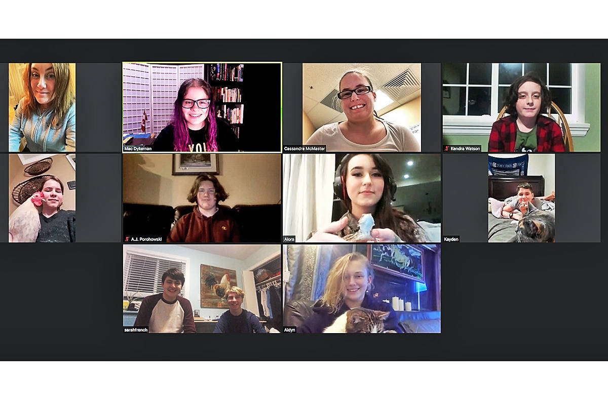 A recent meeting of the Otter Flying Feathers 4H club was held online using video chat (Special to Langley Advance Times)