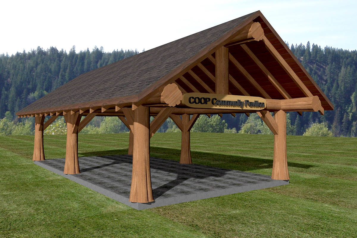 A computer-generated graphic of the COOP Community Pavillon at Raptors Knoll Frisbee Golf. (Special to the Aldergrove Star)